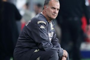 Leeds United head coach Marcelo Bielsa watches on in Sydney.