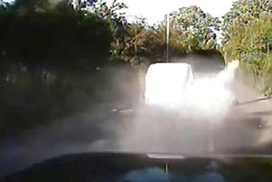 The class A drugs exploded into a cloud of white powder as they were dumped from the van during the chase