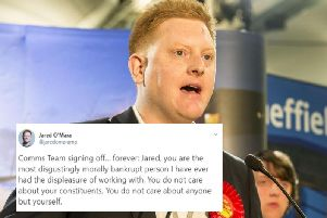 """In a string of tweets from what appears to be Sheffield MP Jared O'Mara's Twitter account on Tuesday evening, the MP was described as """"morally bankrupt"""" by what appeared to be a staff member publicly resigning."""