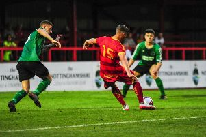 Elliott Reeves scores the second Robins goal. Photo by Craig Lamont.