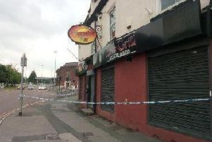 A police cordon outside Paradise Bar, Sheepscar Street.