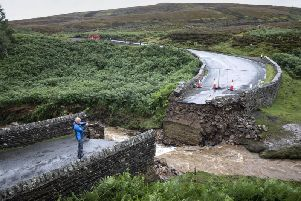 The collapsed bridge near Grinton, North Yorkshire. A temporary bridge will replace the bridge allowing the prestigious UCI Road World Championship bike race to stay on its intended route. Picture: PA