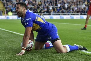 Rhyse Martin celebrates his sensational try against Catalans Dragons.