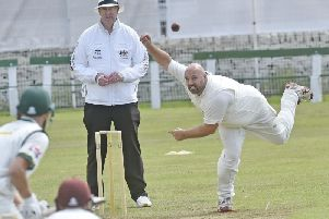 Spin to win: Chris Bryce turned the Priestley Cup final. Picture: Steve Riding