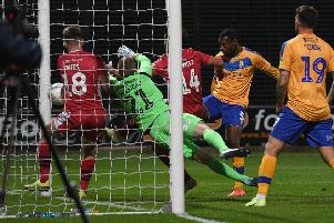 Picture: Andrew Roe/AHPIX LTD, Football, Carabao Cup First Round, Mansfield Town v Morecambe, One Call Stadium, Mansfield UK, 13/08/19, K.O 7.45pm''Mansfield's Krystian Pearce levels the score at 1-1 with a header'Howard Roe>>>>>>>07973739229