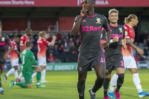 Leeds United loanee Eddie Nketiah celebrates at Salford City on Tuesday evening.