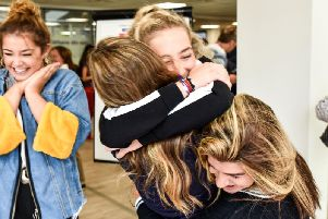 A Level results day at The Grammar School at Leeds in 2018.