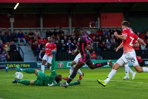 CLINICAL: Eddie Nketiah bags his first goal for Leeds United from Helder Costa's cross in Tuesday night's 3-0 win at Salford City in the Carabao Cup. Picture by Bruce Rollinson.