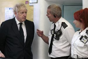 Prime Minister Boris Johnson on a recent visit to HMP Leeds. Pic: PA