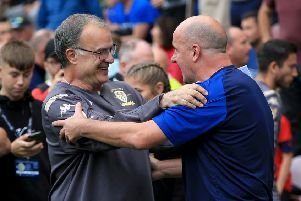 All the best: Wigan Athletic manager Paul Cook and Leeds United head coach Marcelo Bielsa.