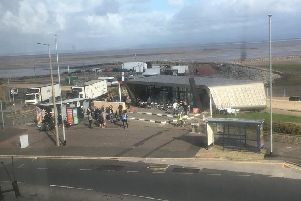 James Newbert took this photo of filming for The Bay at The Beach Cafe on Morecambe prom.