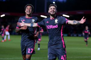 GOING THROUGH: Helder Costa and Mateusz Klich celebrate Klich's strike in Leeds United's 3-0 win at Salford City in the Carabao Cup first round. Photo by Alex Livesey/Getty Images.