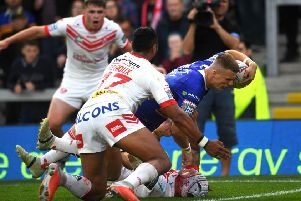 No stopping him: 'Rhinos Ash Handley goes over to score yet another try against St Helens.' Picture: Jonathan Gawthorpe
