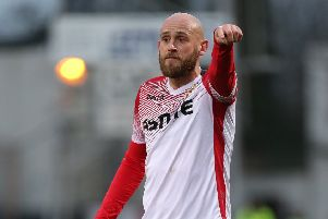 CAMBRIDGE, ENGLAND - JANUARY 05: Scott Cuthbert of Stevenage in action during the Sky Bet League Two match between Cambridge United and Stevenage at Abbey Stadium on January 05, 2019 in Cambridge, United Kingdom. (Photo by Pete Norton/Getty Images)