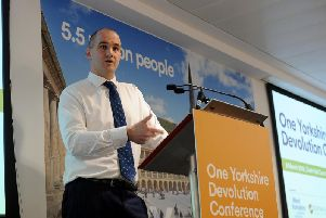 Jake Berry speaks at a conference in Leeds earlier this year.