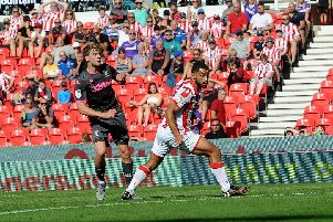 FINE START: Leeds United striker Patrick Bamford nets his fourth goal for the season in Saturday's 3-0 win at Stoke City. Picture by Simon Hulme.
