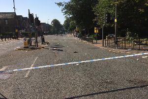 The police cordon on Chapeltown Road