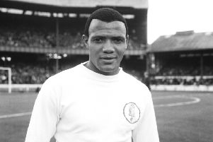 South African footballer Albert Johanneson (1940 - 1995) of Leeds United, September 1964. Johanneson was one of the first black men to achieve prominence in English football. (Photo by Central Press/Hulton Archive/Getty Images)