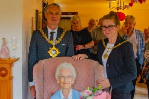 Clitheroe town Mayor and Mayoress Coun. Stewart Fletcher and his wife Kerry help Connie Hindle celebrate her 106th birthday.