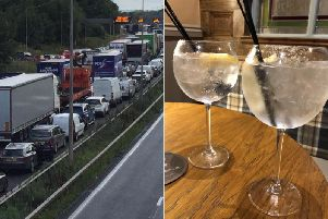 Gin is leaking out onto the M6 motorway.