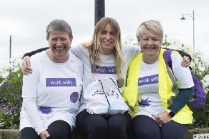 Last years walk: Lancashire Women chief executive Amanda Greenwood, (left) and Business Development Officer Adele Helm with Emmerdale actress and Lancashire Women ambassador Emma Atkins(centre)