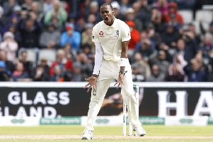 England's Jofra Archer reacts to a dropped catch by Sam Curran (not pictured) during day two of the fourth Ashes Test at Emirates Old Trafford (Picture: PA).