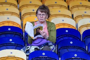 Picture John Hobson/AHPIX LTD, Sky Bet League Two, Mansfield Town v Scunthorpe United, One Call Stadium, Mansfield, UK, 07/09/19, K.O 3pm''Mansfield fans waiting for KO''Howard Roe>07973739229