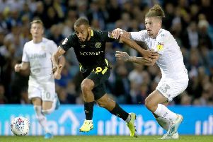 NEW DEAL: Kalvin Phillips, seen battling with Brentford's Bryan Mbeumo at Elland Road, is expected to sign a new deal this week. Picture: Tim Goode/PA