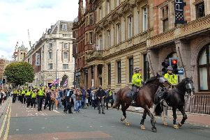 A protest by supporters of Tommy Robinson in Leeds city centre. Pic by YEP reporter Abbey Maclure.