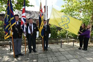 Military veterans at the World Suicide Prevention Day ceremony in Wigan town centre