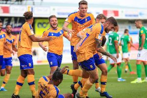 Picture John Hobson/AHPIX LTD, Sky Bet League Two, Mansfield Town v Scunthorpe United, One Call Stadium, Mansfield, UK, 07/09/19, K.O 3pm''Matt Preston celebrates his goal making it 1-0''Howard Roe>07973739229