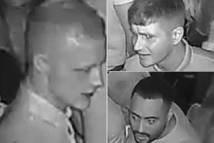 Police have released these CCTV images of suspects they want to identify after a city centre assault. Photos provided by West Yorkshire Police.