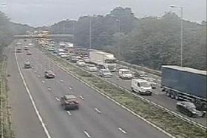 There are delays of about 30 minutes and 6 miles of congestion on the M6 southbound between Standish and Leyland due to roadworks