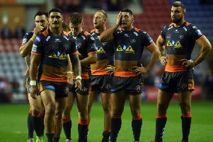Dejected Castleford players at full time. Picture Jonathan Gawthorpe