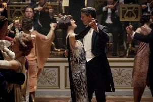 Michelle Dockery as Mary Crawley and Matthew Goode as Henry Talbot in Downton Abbey.