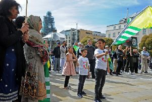 Hundreds of people turned out in Leeds city centre to protest over the crisis in Kashmir. PIC: Tony Johnson