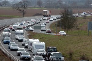Stock image of traffic on the A64