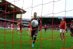 Leeds United playmaker Mateusz Klich celebrates at Oakwell.