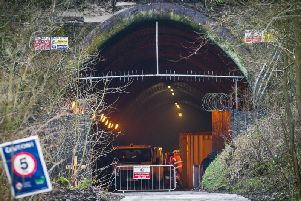 Remedial site safety works taking place at the tunnel in March 2019