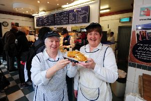 Long serving employees of The Fisherman's Wife Kathryn Cosgrove and Sandra Clarkson - pictured in March 2018.