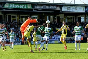 Goalmouth action at Huish Park but Fylde suffered another setback against Yeovil  Picture: STEVE MCLELLAN