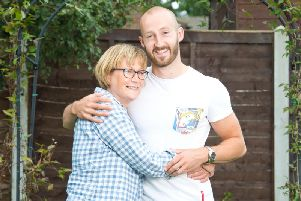 April Dunn pictured with her son Gareth in July 2017.