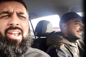 An offensive video emerged on social media in December last year in which a Preston taxi driver (left) appeared to threaten Muslim converts to Christianity with sexual violence