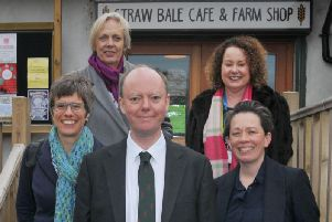Professor Chris Whitty, chief scientific adviser to the Department of Health and Social Care, visits Greenslate Farm, Billinge,  meeting professionals working on the Community in Charge of Alcohol Team. from left, Prof Penny Cook, Prof Dame Anne Johnson, Prof Chris Whitty, Prof Kate Ardern director of public health at Wigan Council and Liz Burns from University of Salford outside the Straw Bale Cafe at Greenslate Farm