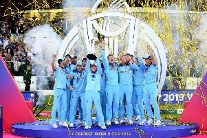 It's ours: England captain Eoin Morgan lifts the World Cup trophy at Lord's. Picture: Clive Mason/Getty Images