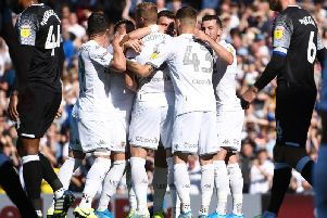 DOMINANT: Leeds United celebrate Max Lowe's own goal but the Whites had to settle for a 1-1 draw. Photo by George Wood/Getty Images.