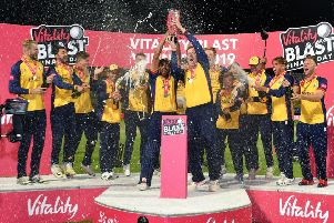 Winners: Essex Eagles lift the trophy.