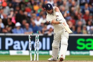 DROPPED: England's Jonny Bairstow is bowled by Australia's Mitchell Starc at Old Trafford. Picture: Mike Egerton/PA