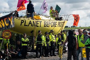 There have been huge protests at the first UK fracking site in Lancashire.