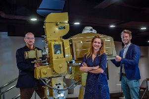 James Rice, INDY Senior Film and Development Manager, Kathryn Penny, National Science and Media Museum Head of Film Operation and Pete Johnson, INDY Head of Operations. Picture: National Science and Media Museum.